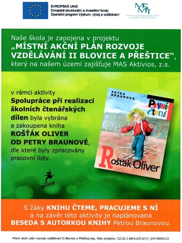 Projekt Místní akční plán rozvoje vzdělávání II Blovice a Přeštice - kniha Petry Braunové - Rošťák Oliver.