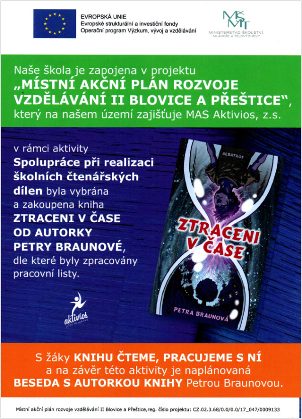 Projekt Místní akční plán rozvoje vzdělávání II Blovice a Přeštice - kniha Petry Braunové - Ztraceni v čase.
