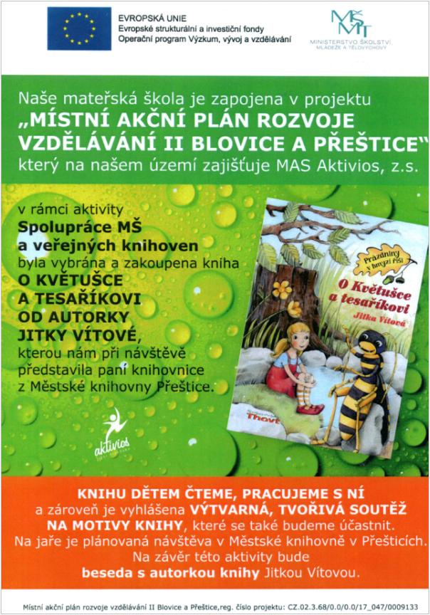 Projekt Místní akční plán rozvoje vzdělávání II Blovice a Přeštice - kniha Jitky Vítkové - O Květušce a tesaříkovi.